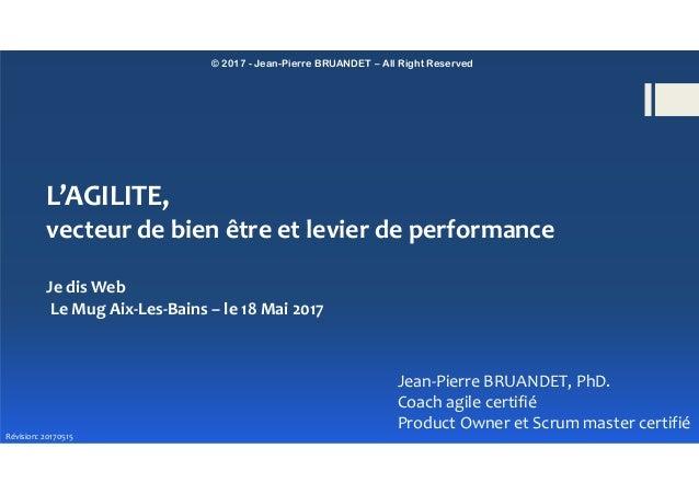 © 2017 - Jean-Pierre BRUANDET – All Right Reserved L'AGILITE, vecteur de bien être et levier de performance Jean-Pierre BR...