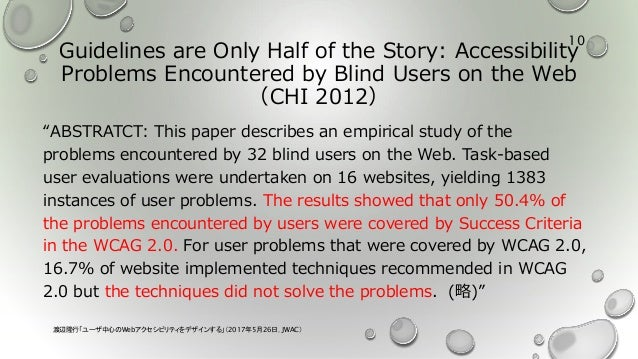 """Guidelines are Only Half of the Story: Accessibility Problems Encountered by Blind Users on the Web (CHI 2012) """"ABSTRATCT:..."""
