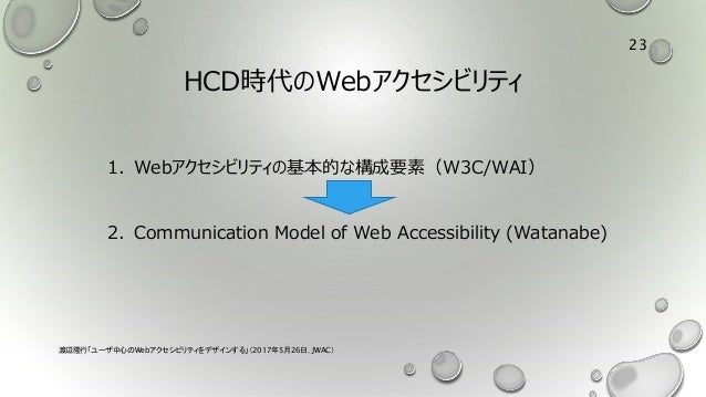 HCD時代のWebアクセシビリティ 1. Webアクセシビリティの基本的な構成要素(W3C/WAI) 2. Communication Model of Web Accessibility (Watanabe) 渡辺隆行「ユーザ中心のWebアク...