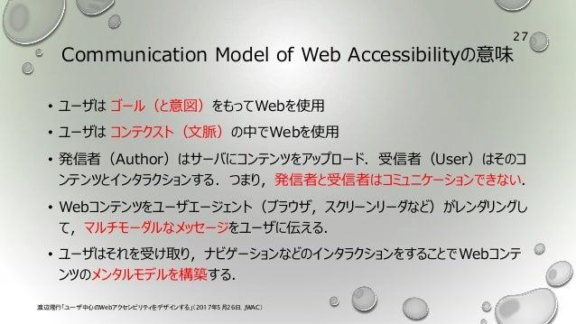 Communication Model of Web Accessibilityの意味 • ユーザは ゴール(と意図)をもってWebを使用 • ユーザは コンテクスト(文脈)の中でWebを使用 • 発信者(Author)はサーバにコンテンツをア...