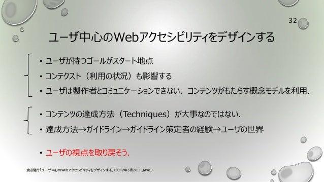 ユーザ中心のWebアクセシビリティをデザインする • ユーザが持つゴールがスタート地点 • コンテクスト(利用の状況)も影響する • ユーザは製作者とコミュニケーションできない.コンテンツがもたらす概念モデルを利用. • コンテンツの達成方法(...