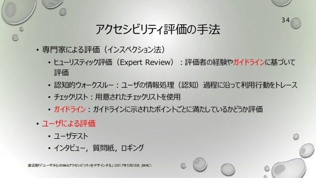アクセシビリティ評価の手法 • 専門家による評価(インスペクション法) • ヒューリスティック評価(Expert Review):評価者の経験やガイドラインに基づいて 評価 • 認知的ウォークスルー:ユーザの情報処理(認知)過程に沿って利用行動...