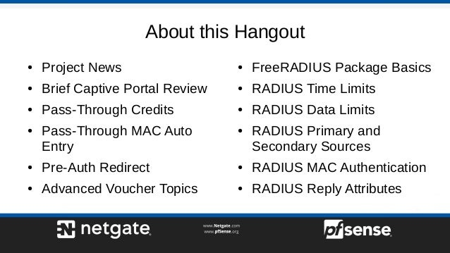 Advanced Captive Portal - pfSense Hangout June 2017