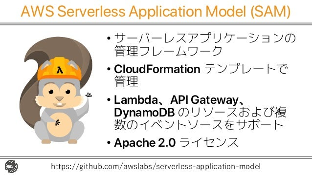 AWS Serverless Application Model (SAM) • サーバーレスアプリケーションの 管理フレームワーク • CloudFormation テンプレートで 管理 • Lambda、API Gateway、 Dynam...