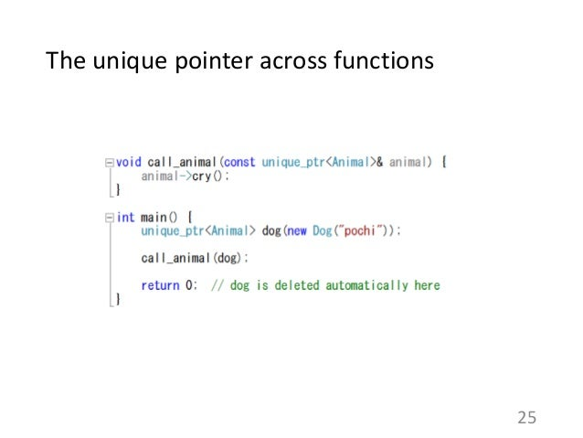 The unique pointer across functions 25