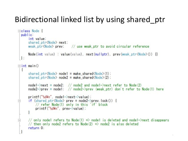 Bidirectional linked list by using shared_ptr 26