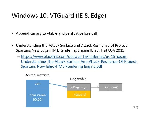 Windows 10: VTGuard (IE & Edge) • Append canary to vtable and verify it before call • Understanding the Attack Surface and...