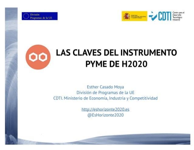 Las claves del Instrumento Pyme de H2020 - 6 de Junio de 2017