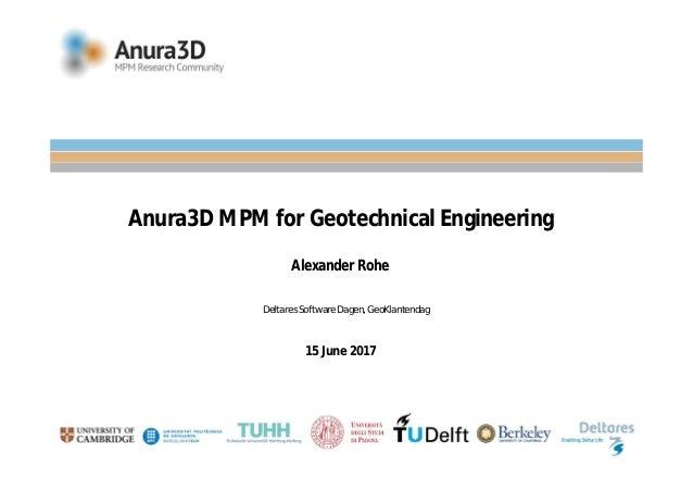 Anura3D MPM for Geotechnical Engineering Alexander Rohe 15 June 2017 Deltares Software Dagen, GeoKlantendag