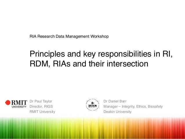RIA Research Data Management Workshop Principles and key responsibilities in RI, RDM, RIAs and their intersection Dr Paul ...