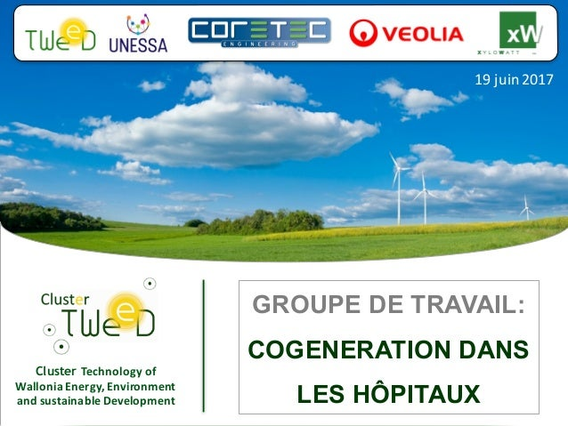 Cluster Technology	of	 Wallonia	Energy,	Environment	 and	sustainable	Development 19	juin	2017 GROUPE DE TRAVAIL: COGENERAT...