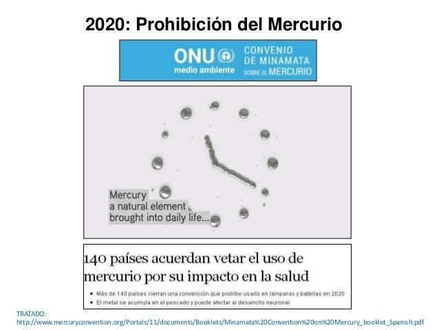 2020: Prohibición del Mercurio TRATADO: http://www.mercuryconvention.org/Portals/11/documents/Booklets/Minamata%20Conventi...