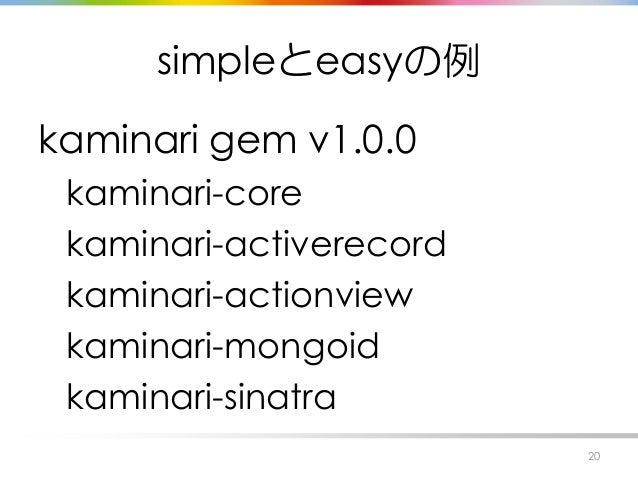 simpleとeasyの例 kaminari gem v1.0.0 kaminari-core kaminari-activerecord kaminari-actionview kaminari-mongoid kaminari-sinatr...