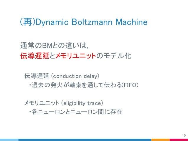(再)Dynamic Boltzmann Machine 通常のBMとの違いは, 伝導遅延とメモリユニットのモデル化  伝導遅延 (conduction delay)   ・過去の発火が軸索を通して伝わる(FIFO)  メモリユニット (eli...