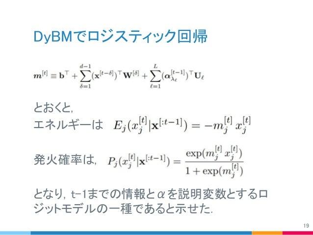 DyBMでロジスティック回帰 とおくと, エネルギーは 発火確率は, となり,t-1までの情報とαを説明変数とするロ ジットモデルの一種であると示せた. 19