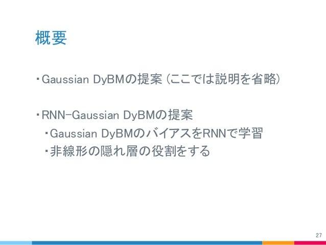 概要 ・Gaussian DyBMの提案 (ここでは説明を省略) ・RNN-Gaussian DyBMの提案  ・Gaussian DyBMのバイアスをRNNで学習  ・非線形の隠れ層の役割をする 27