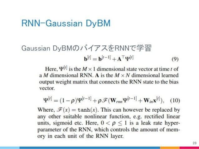 RNN-Gaussian DyBM Gaussian DyBMのバイアスをRNNで学習 28