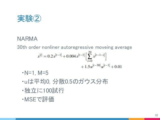 実験② NARMA 30th order nonliner autoregressive moveing average  ・N=1, M=5  ・uは平均0, 分散0.5のガウス分布  ・独立に100試行  ・MSEで評価 32