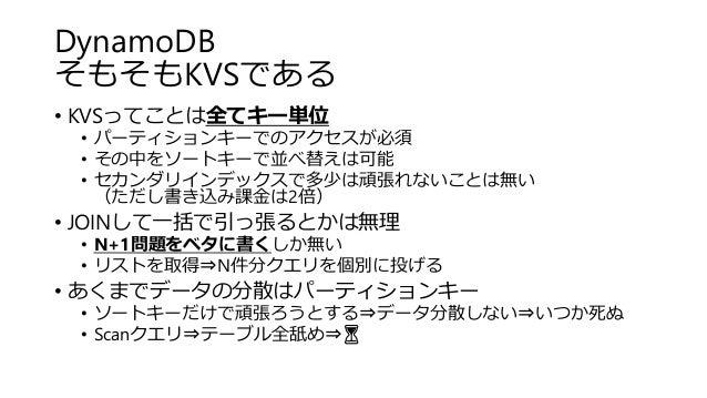 DynamoDB そもそもKVSである • KVSってことは全てキー単位 • パーティションキーでのアクセスが必須 • その中をソートキーで並べ替えは可能 • セカンダリインデックスで多少は頑張れないことは無い (ただし書き込み課金は2倍) •...
