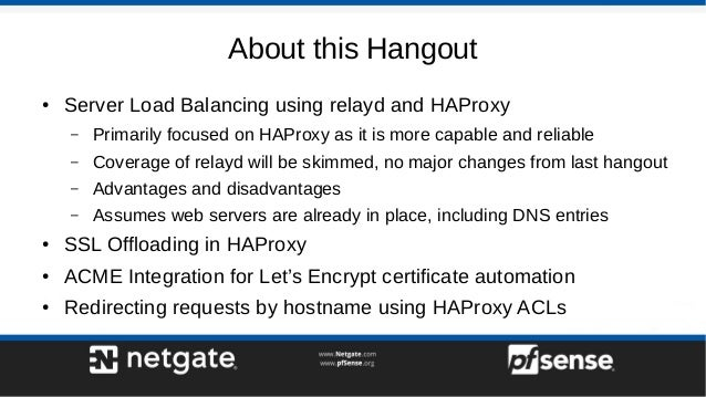 Server Load Balancing on pfSense 2 4 - pfSense Hangout July 2017