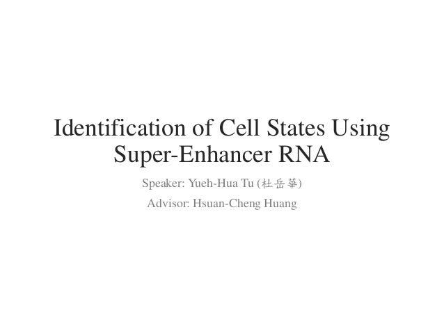 Identification of Cell States Using Super-Enhancer RNA Speaker: Yueh-Hua Tu (杜岳華) Advisor: Hsuan-Cheng Huang