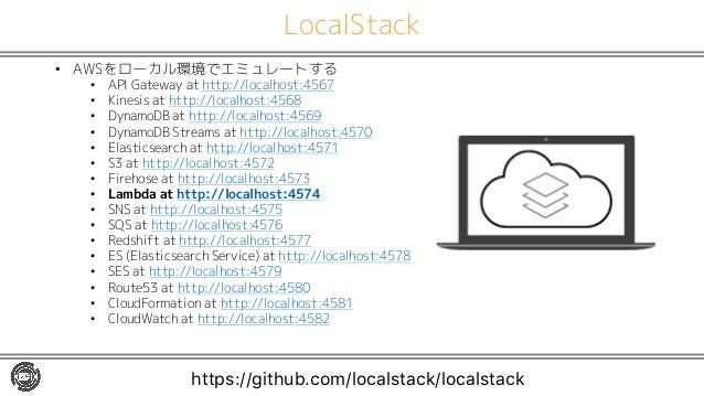 LocalStack • AWSをローカル環境でエミュレートする • API Gateway at http://localhost:4567 • Kinesis at http://localhost:4568 • DynamoDB at h...