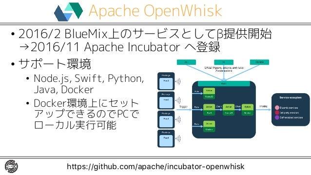 Apache OpenWhisk • 2016/2 BlueMix上のサービスとしてβ提供開始 →2016/11 Apache Incubator へ登録 • サポート環境 • Node.js, Swift, Python, Java, Doc...