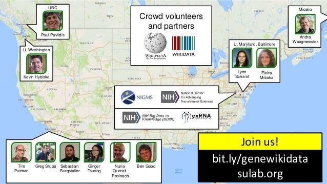 18 Crowd volunteers and partners Andra Waagmeester Lynn Schriml Elvira Mitraka U. Maryland, Baltimore MicelioUBC Paul Pavl...