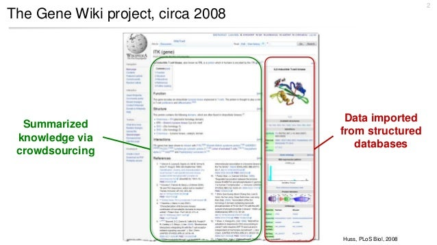 The Gene Wiki project, circa 2008 2 Huss, PLoS Biol, 2008 Data imported from structured databases Summarized knowledge via...