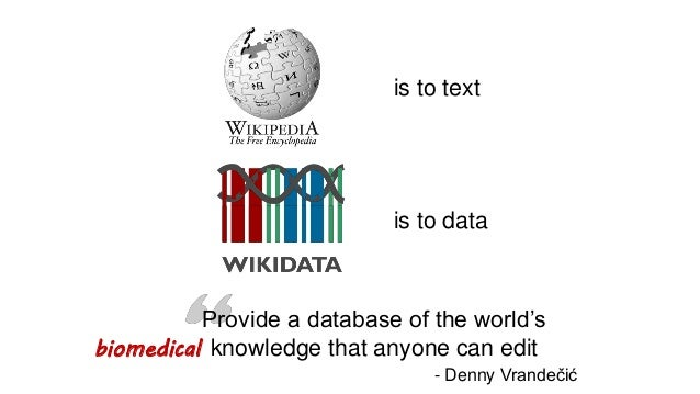is to data is to text biomedical Provide a database of the world's knowledge that anyone can edit - Denny Vrandečić
