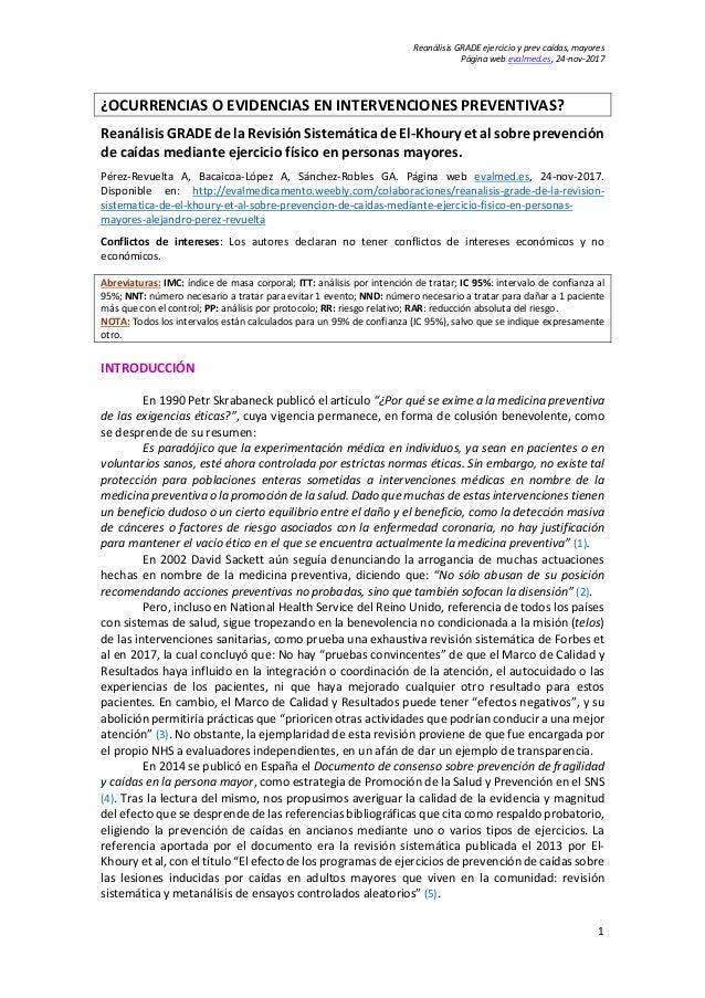 Reanálisis GRADE ejercicio y prev caídas, mayores Página web evalmed.es, 24-nov-2017 1 ¿OCURRENCIAS O EVIDENCIAS EN INTERV...