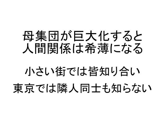 母集団が巨大化すると 人間関係は希薄になる 小さい街では皆知り合い 東京では隣人同士も知らない
