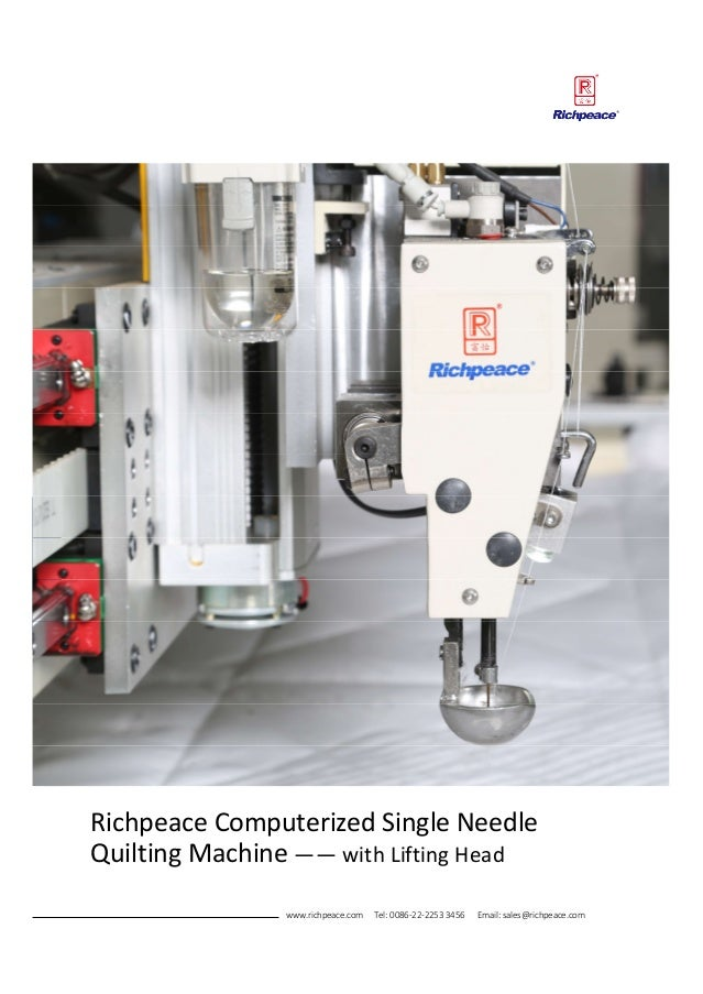 Rpcq St Richpeace Computerized Single Needle Quilting Machine 2017080