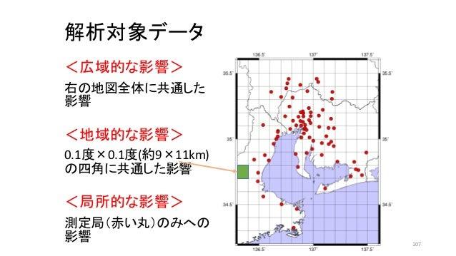解析対象データ <広域的な影響> 右の地図全体に共通した 影響 <地域的な影響> 0.1度×0.1度(約9×11km) の四角に共通した影響 <局所的な影響> 測定局(赤い丸)のみへの 影響 107