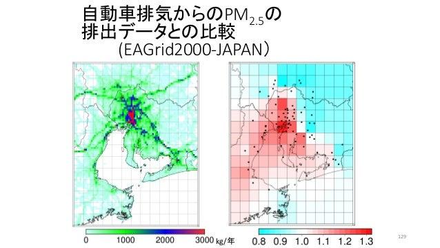 自動車排気からのPM2.5の 排出データとの比較 (EAGrid2000-JAPAN) kg/年 129
