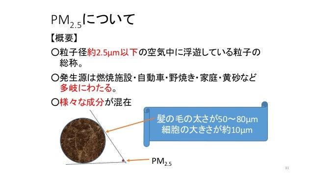 PM2.5について 【概要】 ○粒子径約2.5µm以下の空気中に浮遊している粒子の 総称。 ○発生源は燃焼施設・自動車・野焼き・家庭・黄砂など 多岐にわたる。 ○様々な成分が混在 髪の毛の太さが50~80µm 細胞の大きさが約10µm PM2....
