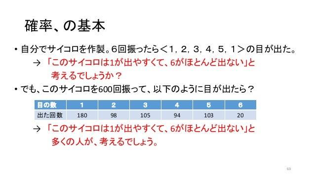確率、の基本 • 自分でサイコロを作製。6回振ったら<1,2,3,4,5,1>の目が出た。 → 「このサイコロは1が出やすくて、6がほとんど出ない」と 考えるでしょうか? • でも、このサイコロを600回振って、以下のように目が出たら? → 「...