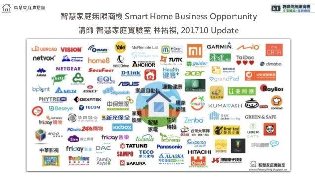 智慧家庭實驗室 智慧家庭無限商機 Smart Home Business Opportunity 講師 智慧家庭實驗室 林祐祺, 201710 Update