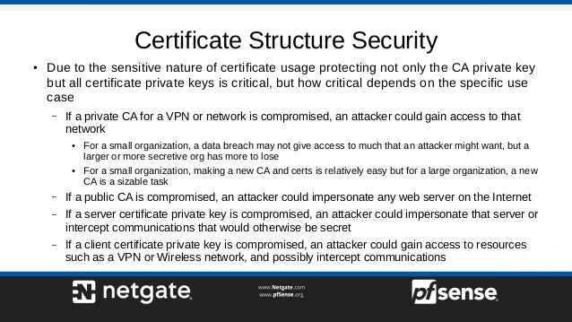 Certificate Structure Security ● Due to the sensitive nature of certificate usage protecting not only the CA private key b...