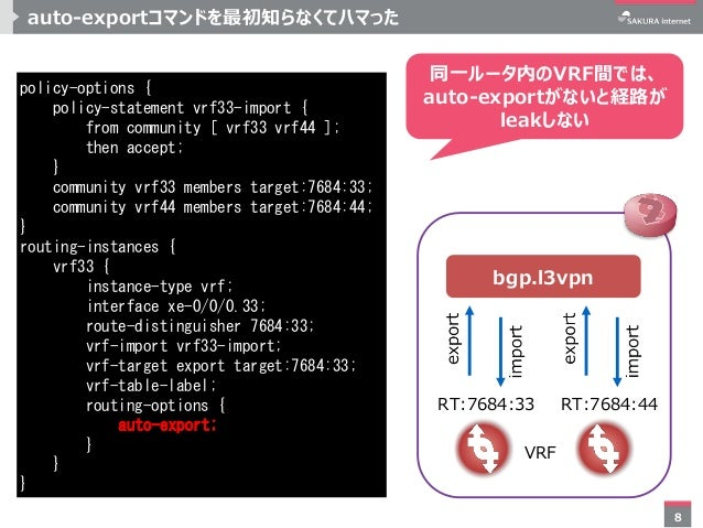 8 auto-exportコマンドを最初知らなくてハマった policy-options { policy-statement vrf33-import { from community [ vrf33 vrf44 ]; then accept...