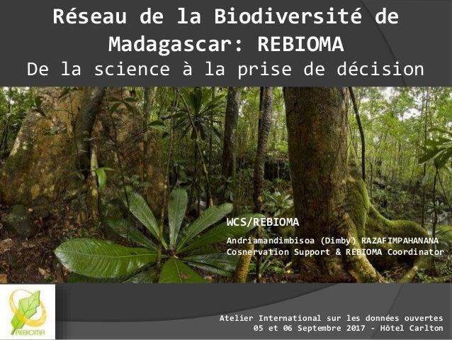 WCS/REBIOMA Andriamandimbisoa (Dimby) RAZAFIMPAHANANA Cosnervation Support & REBIOMA Coordinator Réseau de la Biodiversité...