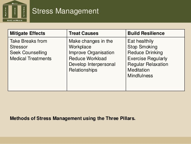 Stress Management Mitigate Effects Treat Causes Build Resilience Take Breaks from Stressor Seek Counselling Medical Treatm...
