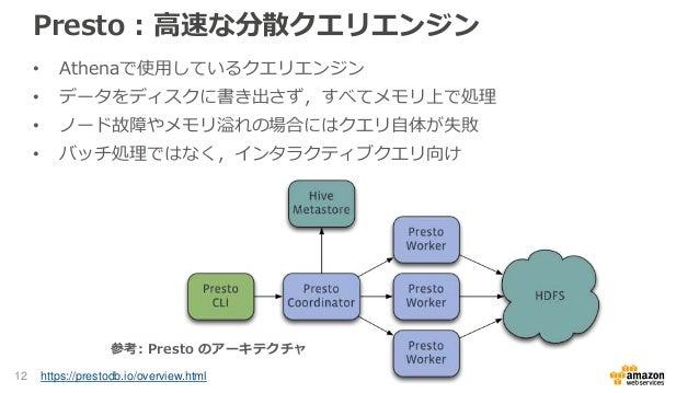 Presto : 高速な分散クエリエンジン • Athenaで使用しているクエリエンジン • データをディスクに書き出さず,すべてメモリ上で処理 • ノード故障やメモリ溢れの場合にはクエリ自体が失敗 • バッチ処理ではなく,インタラクティブクエ...