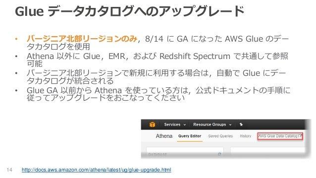 Glue データカタログへのアップグレード • バージニア北部リージョンのみ,8/14 に GA になった AWS Glue のデー タカタログを使用 • Athena 以外に Glue,EMR,および Redshift Spectrum で共...