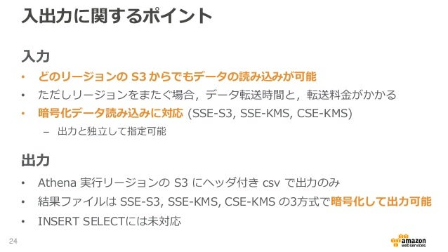 入出力に関するポイント 入力 • どのリージョンの S3 からでもデータの読み込みが可能 • ただしリージョンをまたぐ場合,データ転送時間と,転送料金がかかる • 暗号化データ読み込みに対応 (SSE-S3, SSE-KMS, CSE-KMS)...