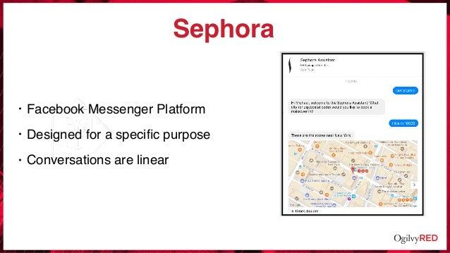 Sephora • Facebook Messenger Platform • Designed for a specific purpose • Conversations are linear