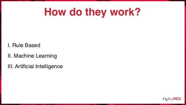 How do they work? I. Rule Based II. Machine Learning III. Artificial Intelligence