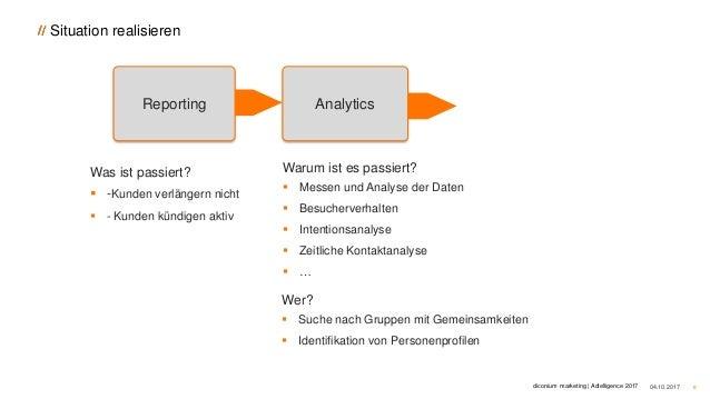 Situation realisieren 04.10.2017 8 Reporting Analytics Was ist passiert?  -Kunden verlängern nicht  - Kunden kündigen ak...