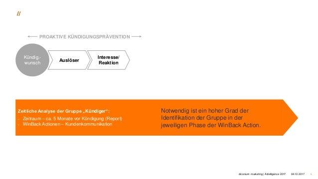 """904.10.2017 Kündig.- wunsch Auslöser Interesse/ Reaktion PROAKTIVE KÜNDIGUNGSPRÄVENTION Zeitliche Analyse der Gruppe """"Künd..."""
