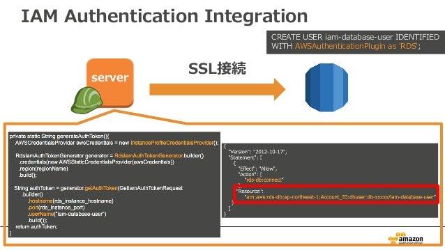 IAM Authentication Integration SSL接続 CREATE USER iam-database-user IDENTIFIED WITH AWSAuthenticationPlugin as 'RDS'; server